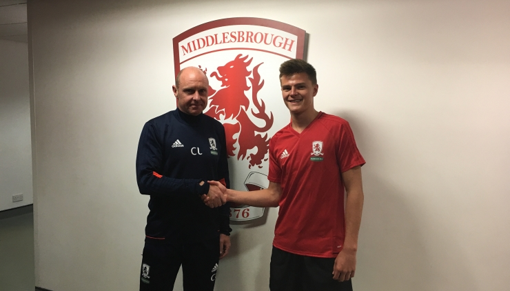 Middlesbrough Academy manager Craig Liddle welcomes Gabby McGill to the Riverside Stadium.